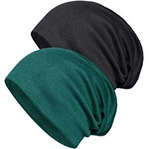 2cc783b80ca Senker 2 Pack of Baggy Soft Cotton Slouchy Stretch Beanie Hat