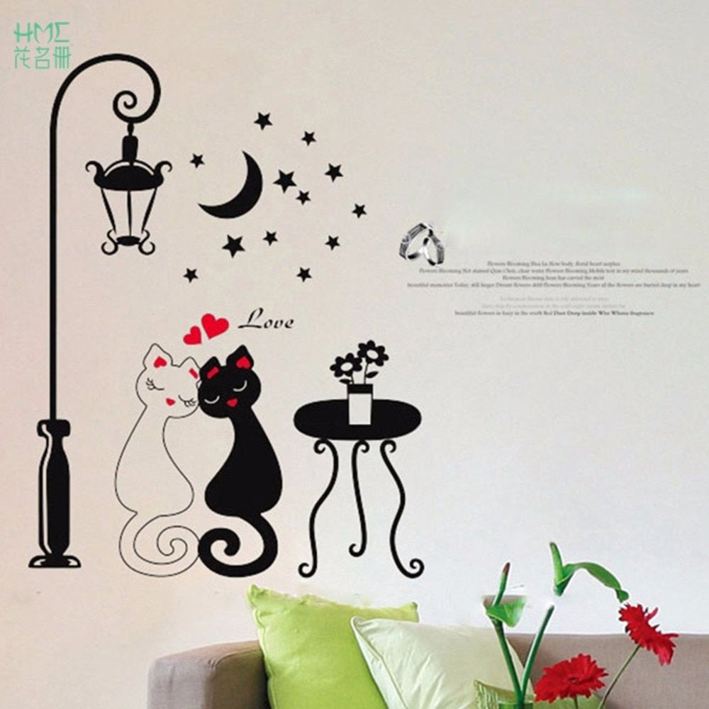 1pc Couple Cat Wall Sticker For Kids Room Lamp And Butterflies Stickers Decor Decals Removable Cartoon Lovely China Mit Bildern
