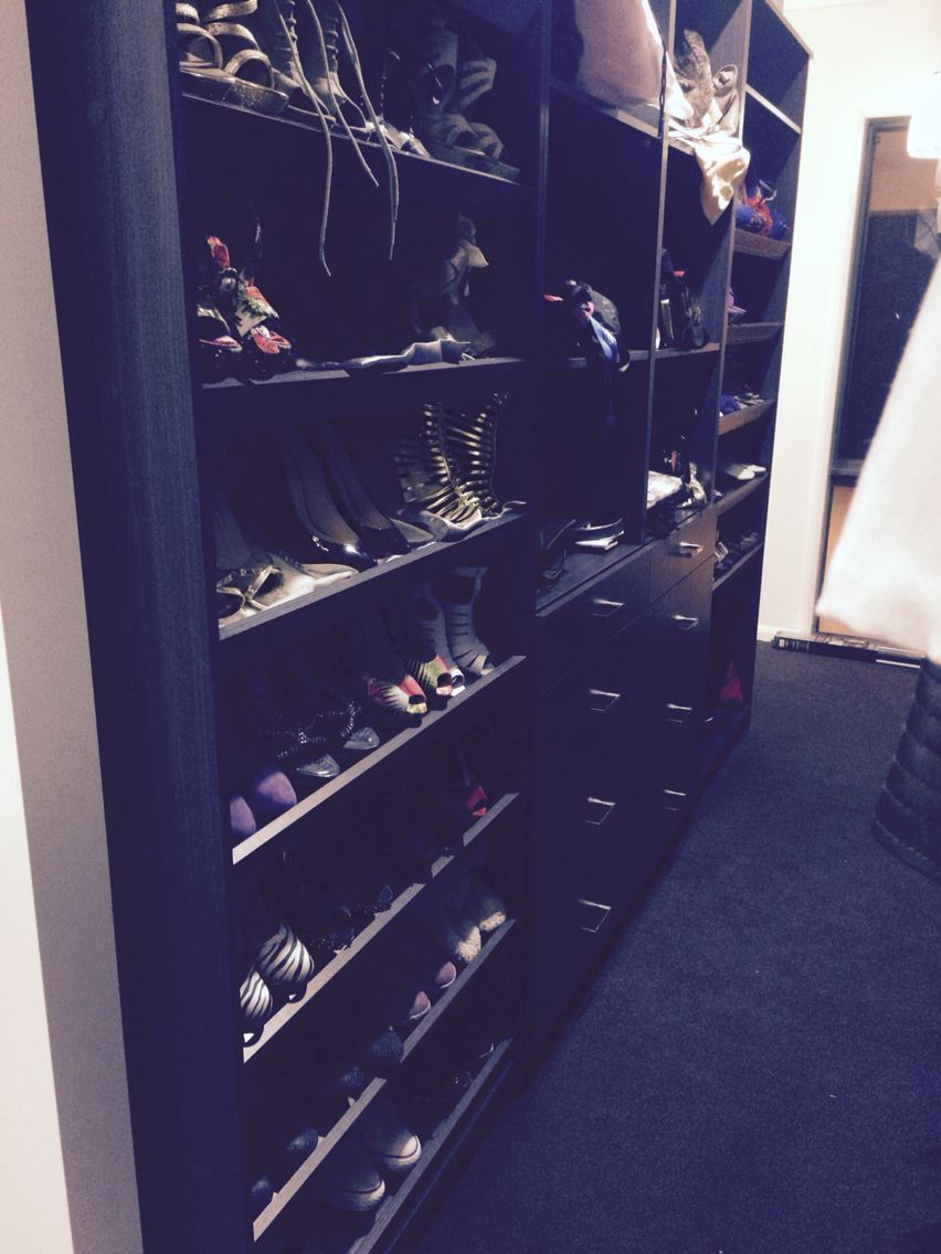 Shoe and accessorie wall with sunglasses storage as well as jewelry storage