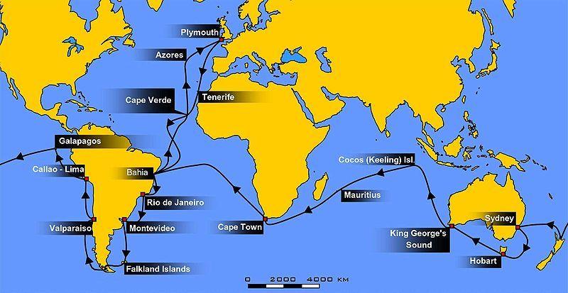 Voyage Of The Beagle A Map Of The Voyage Hms Beagle Ecuador