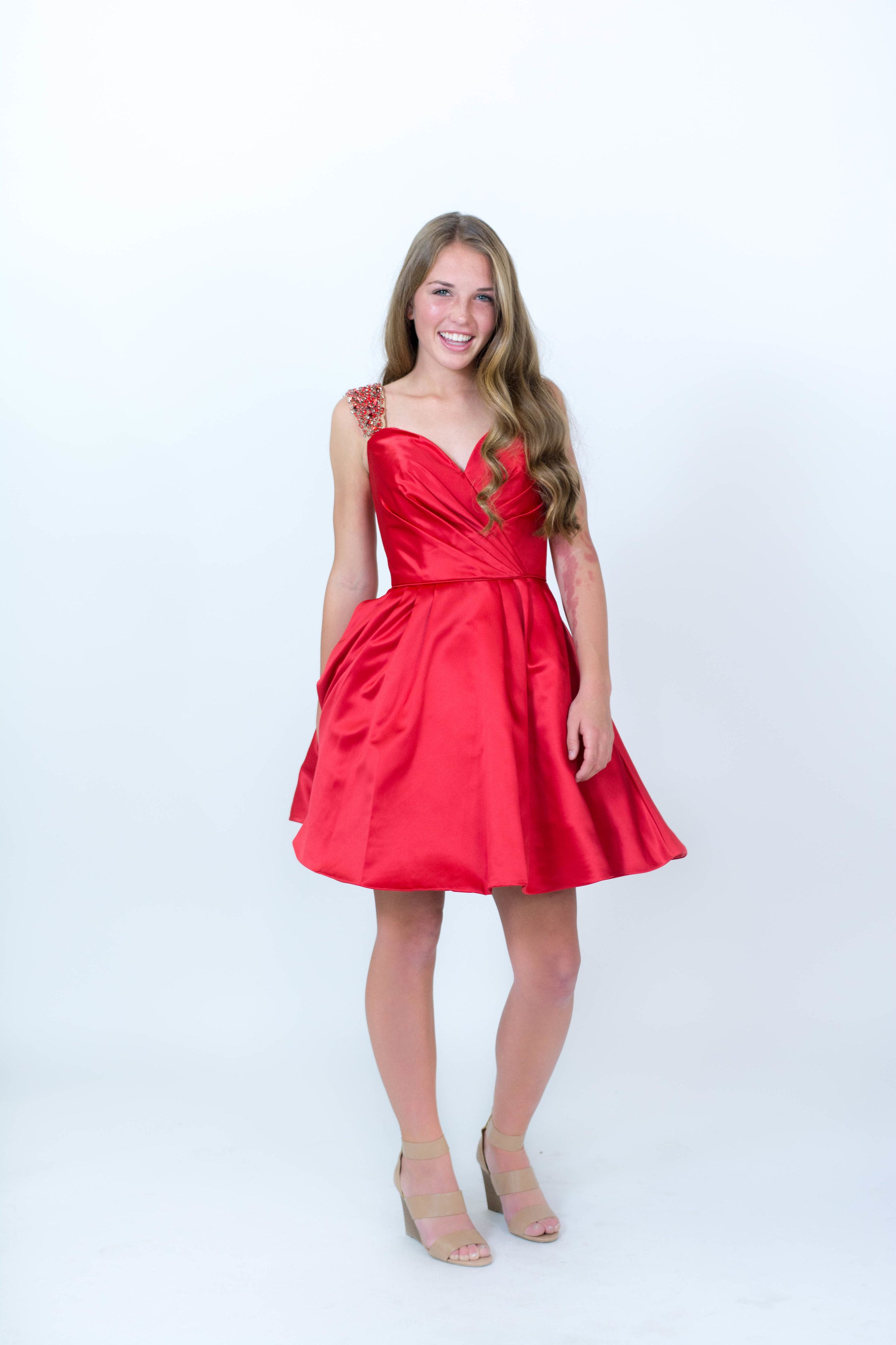 Short Red Dress With Sweetheart Neckline Valentines Day Dress