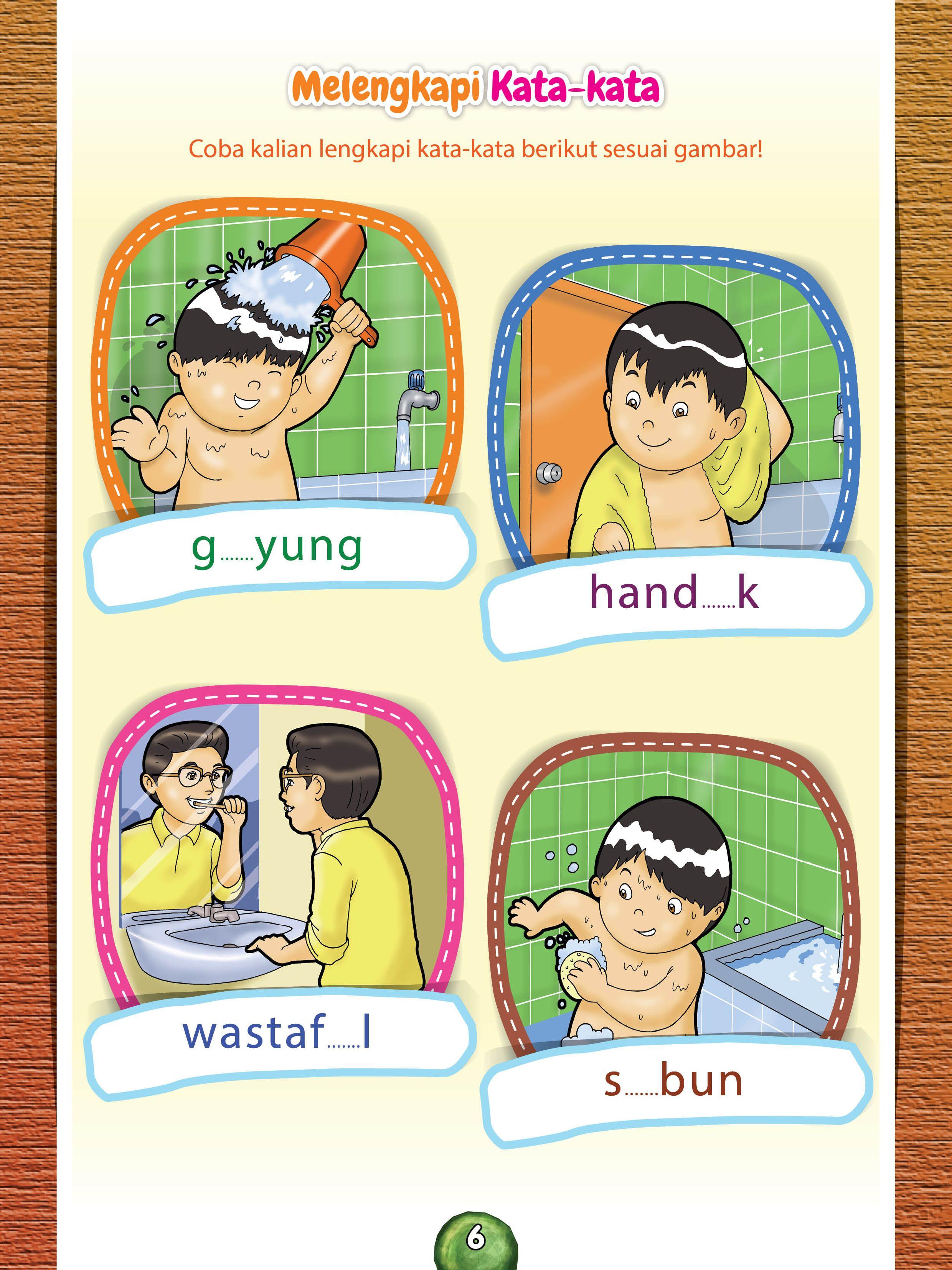 Melengkapi Kata Kata Buku Anak Kegiatan Sekolah Pendidikan