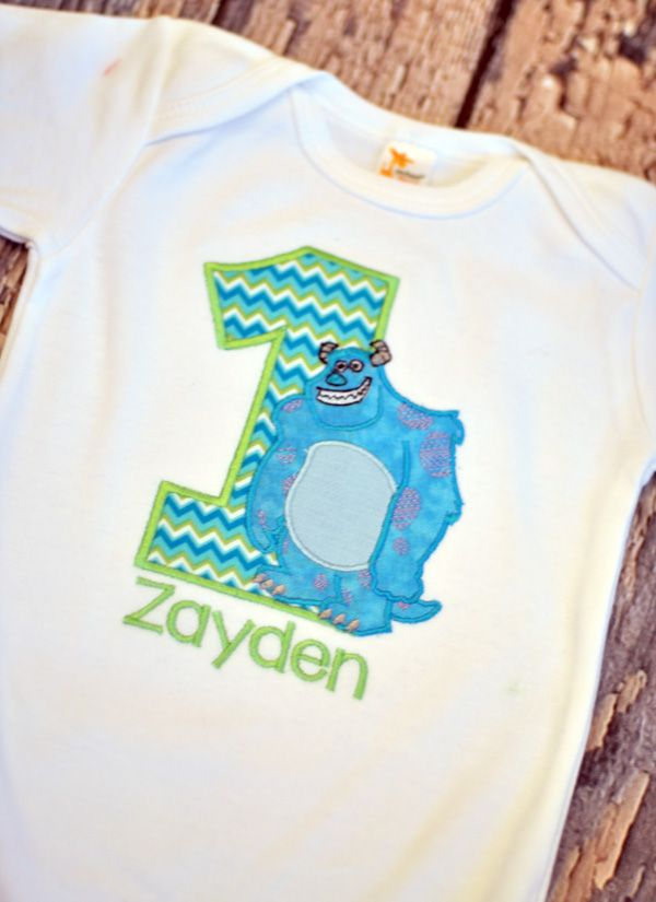 28a2700db Personalized Monsters Inc Inspired Sully Sullivan Birthday T-Shirt/Onesie - Turquoise  Aqua Lime Green Teal