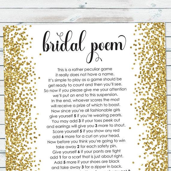 Bridal Poem Game, Bridal Shower Points Poem, Gold Confetti