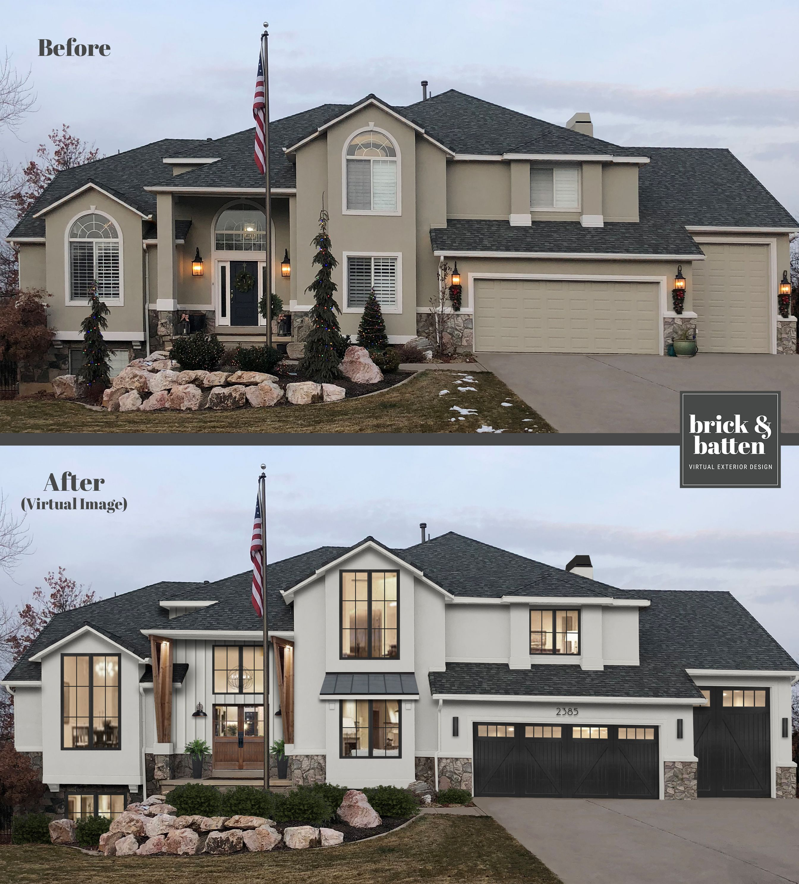 From Desert Stucco To Modern Farmhouse In 2020 Stucco House Colors Home Exterior Makeover Stucco Homes