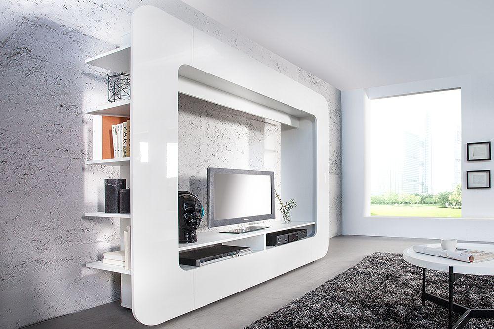 Wohnwand design  Design Wohnwand CUBUS weiß 185cm Hochglanzfront 3D Optik - Unsere ...