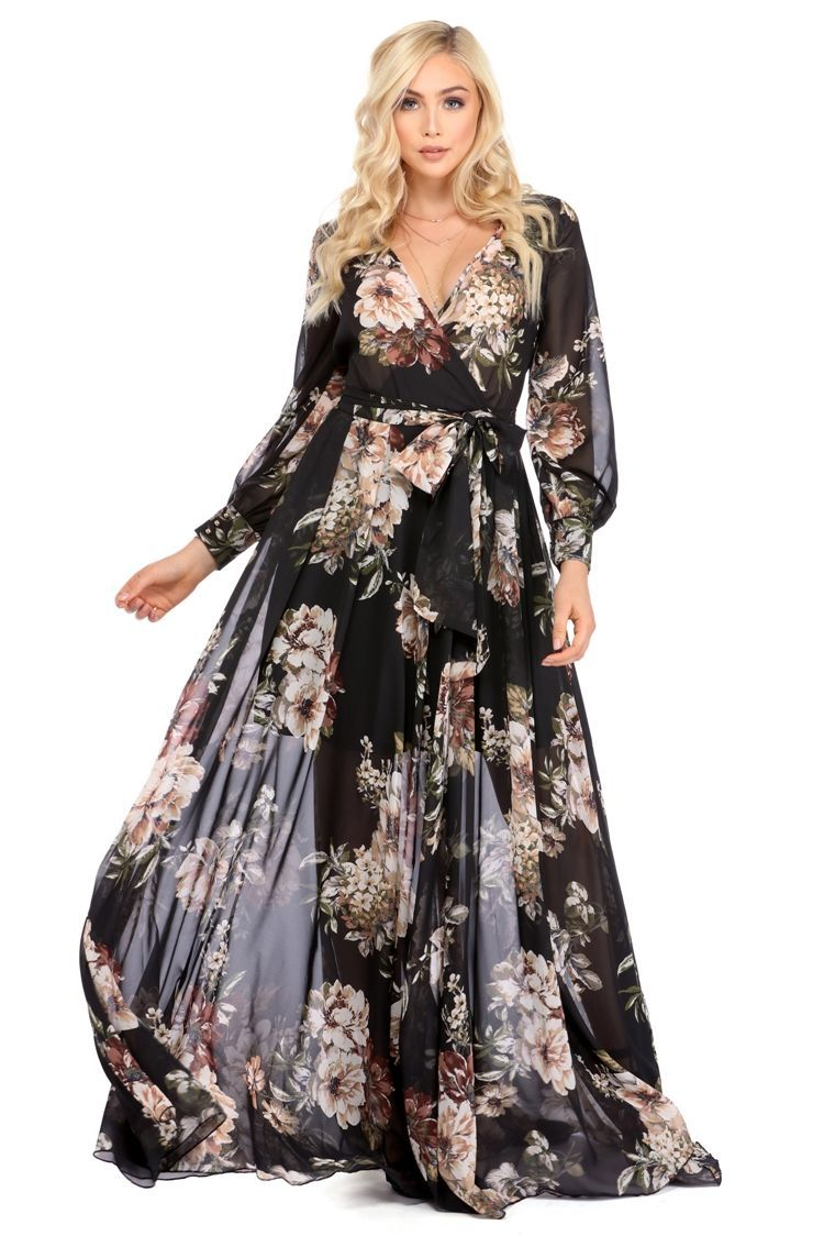 Tiare black floral romance dress chiffon dress neckline and models