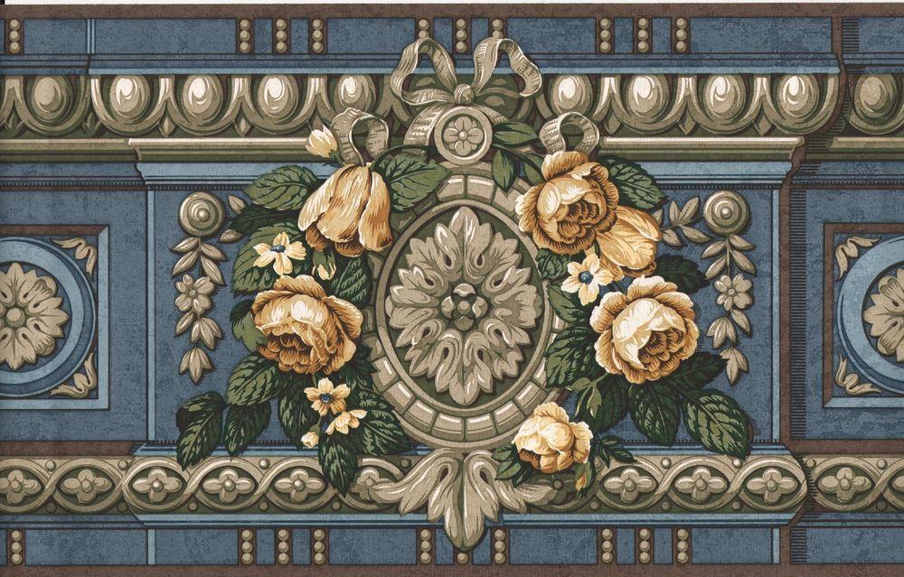 Albert Van Luit blue, yellow, and tan Victorian Floral