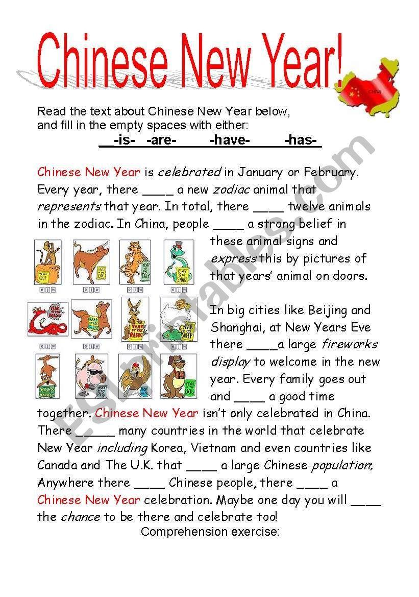 Chinese New Year! ESL worksheet by cayasia Vocabulary