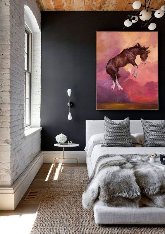 Horse pink CANVAS PRINT of artwork clydesdale painting beautiful horse living room, bedroom equine art present gift for horse lover