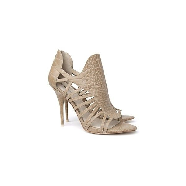 Elizabeth And James Lunge Croc-Embossed Stiletto Sandals ($129) ❤ liked on Polyvore