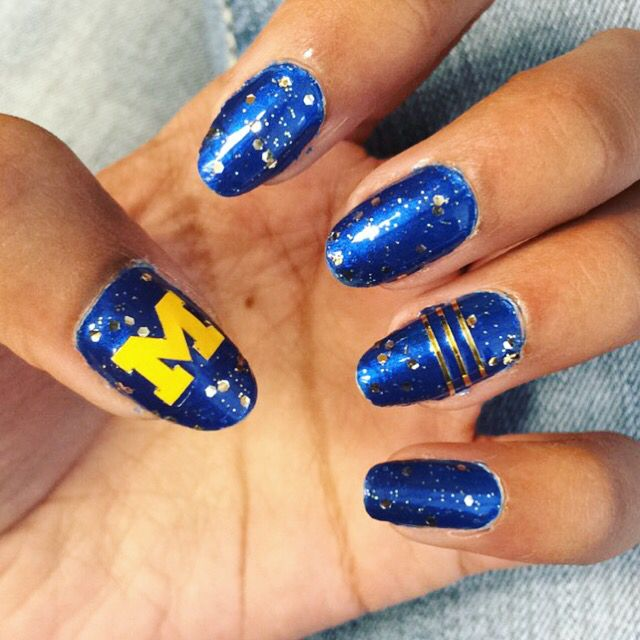 Michigan nails! University of Michigan nail design | Nails ...