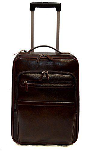 nueva estilos 20023 6ed35 Trolley rigido bolsa de viaje de cuero marron oscuro bolsa ...