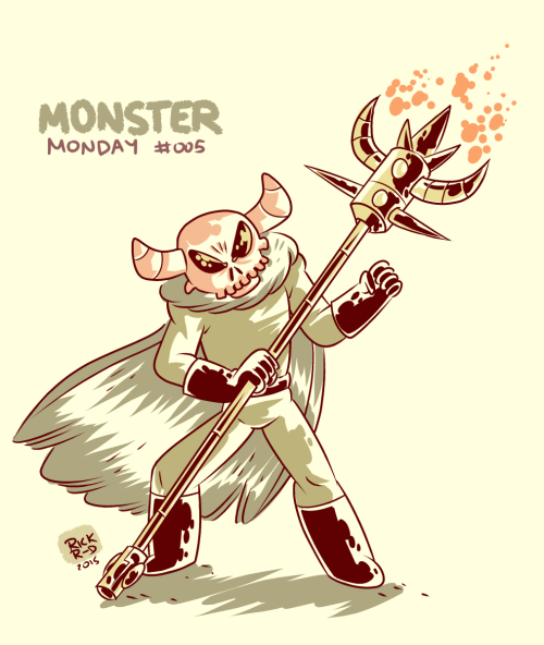 Monster Monday 005, A caped energy-staffed skulled interdimensional ghoul monster. I kinda like this new way of rendering my artwork, with inks and simple colors.Español: Mi dibujo del Monster Monday pasado, un monstruoso espectro calavera con capa y bastón-lanza de energía. Me esta gustando esta forma en la que mezclo tintas obscuras y colores simples para mis dibujos.