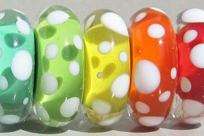 Spotty Juicies--Handmade Lampwork Beads. $48.00 USD, via Etsy.