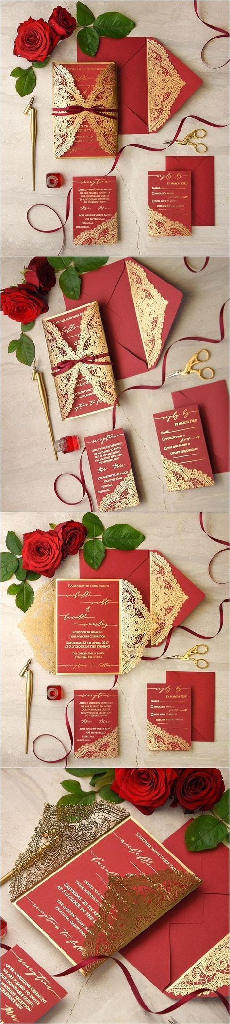 gold and red laser cut wedding invitations / http://www ...