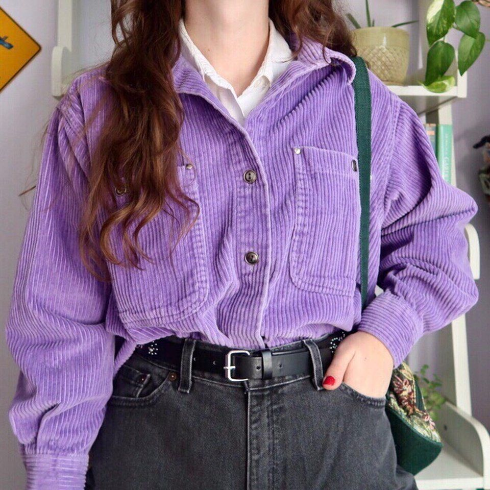 Roaman S Lilac Corduroy Button Up Two Pockets Two Button Is Depop Retro Outfits Edgy Outfits Fashion [ 960 x 960 Pixel ]
