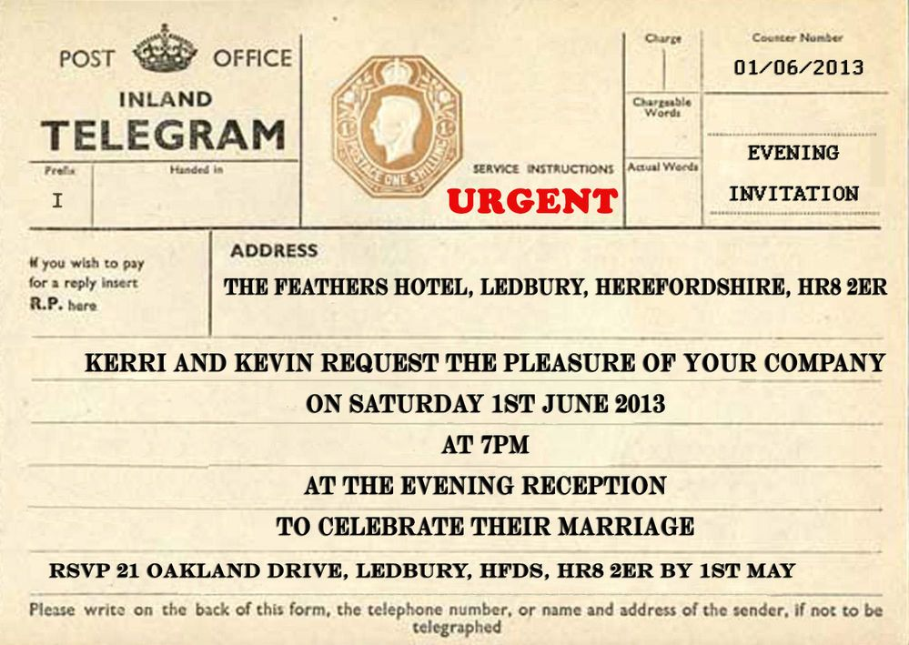Personalised Vintage Post Office Telegram Evening Wedding Invitation