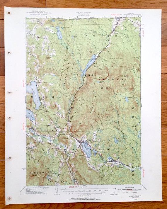 Antique Island Pond Vermont 1953 Us Geological Survey Topographic