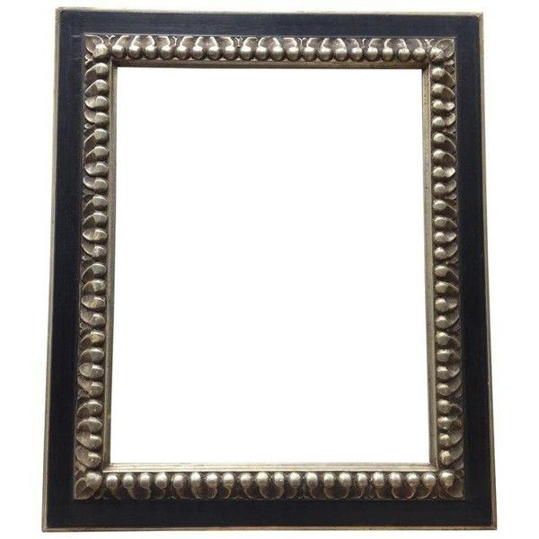 Vintage Black Silver Carved Wood Frame 425 Liked On Polyvore Featuring Home Home Decor Vintage Picture Frames Carved Wood Frame Silver Picture Frames