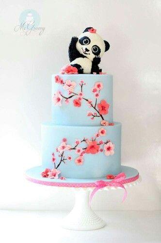 Cherry Blossom And Panda Bear Decor Cake