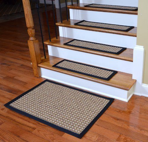 Indoor/Outdoor Flatweave Carpet Stair Treads   Timbuktu/Black (13) PLUS A
