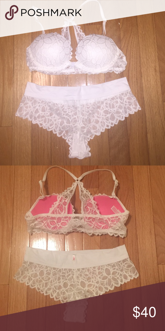 20c511e2b3c8 Victoria's Secret PINK date night bra and panty New white PINK date push up  racerback bra size 34B and matching cheeky panty size medium no tag PINK ...