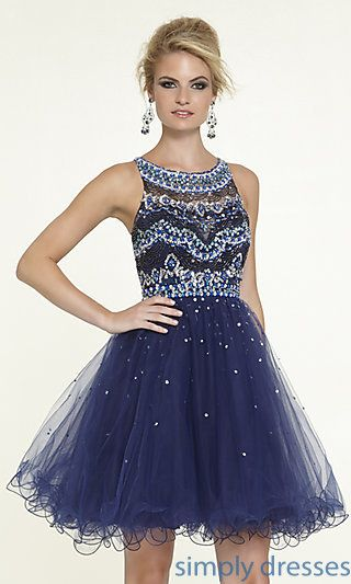 Short High Neck Babydoll Dress by Mori Lee at SimplyDresses.com ...