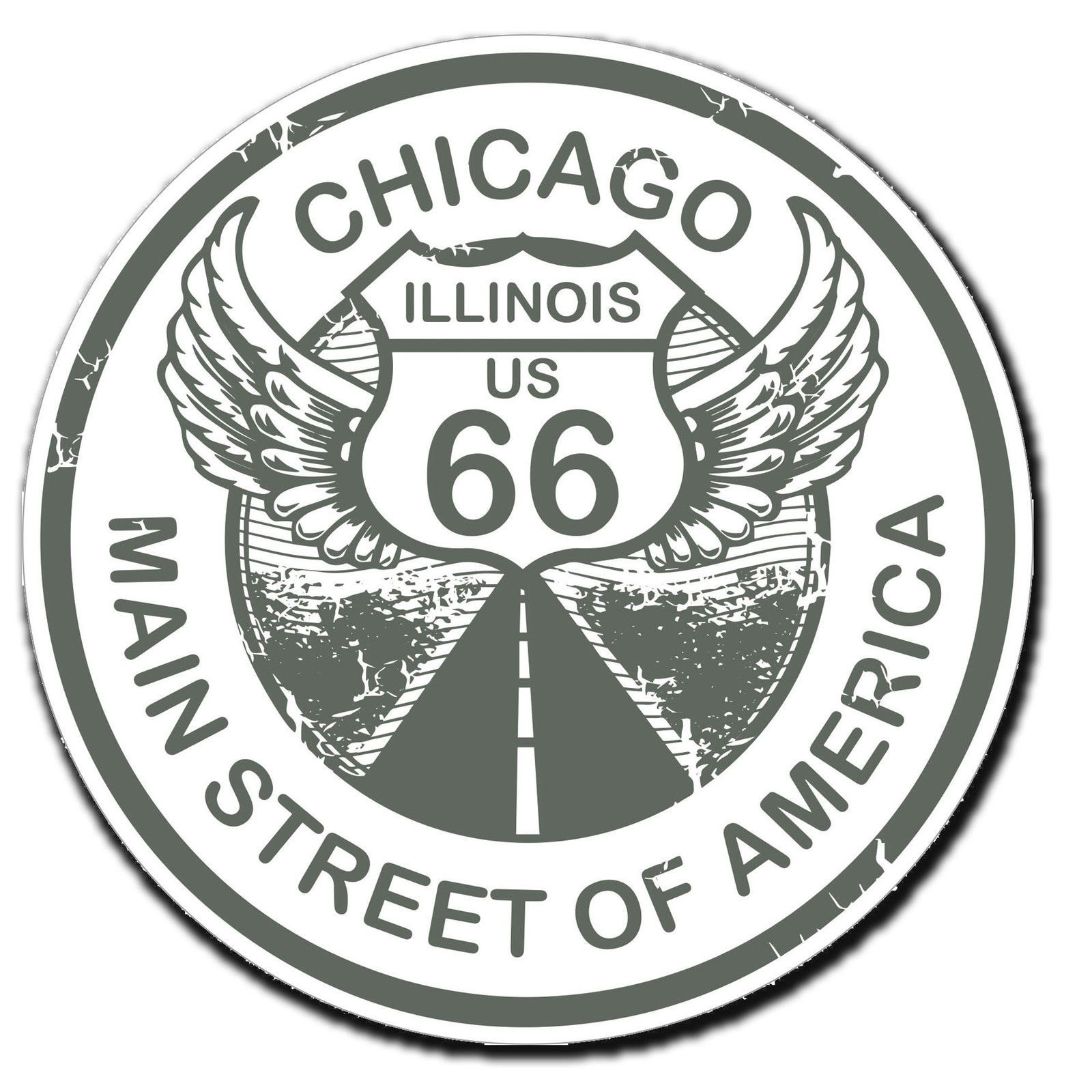 2 X Glossy Vinyl Stickers Chicago Route 66 Travel Fun Ipad Laptop