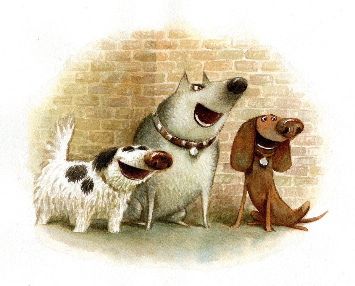 Смешной детский рисунок собаки, праздник пожилых людей