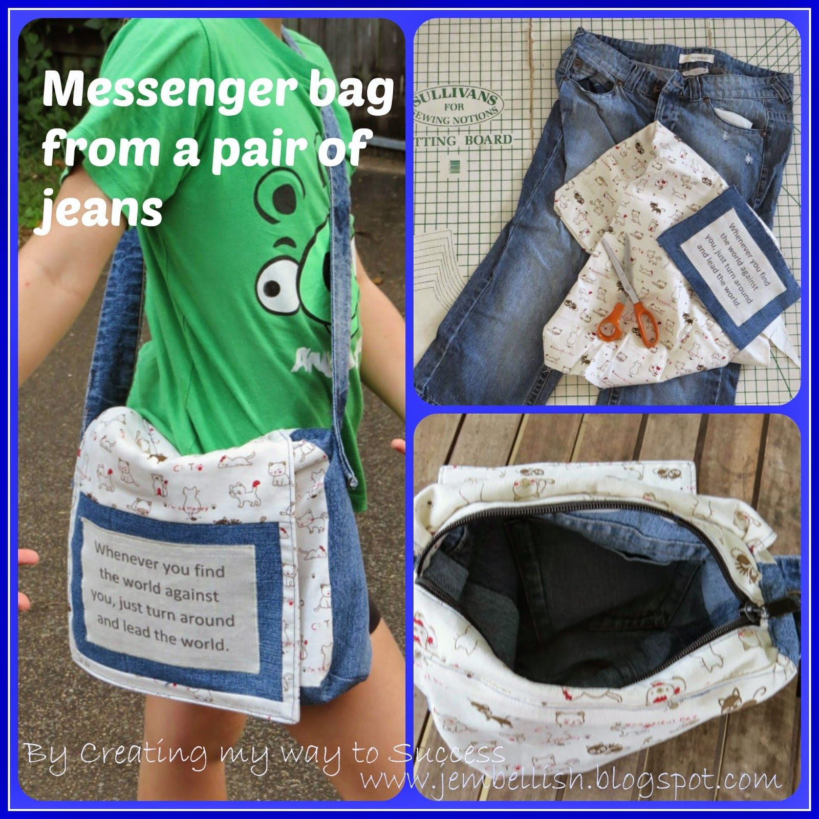 de5be5e39a99a4 Messenger Bag from jeans - an upcycle tutorial ~ Creating my way to Success