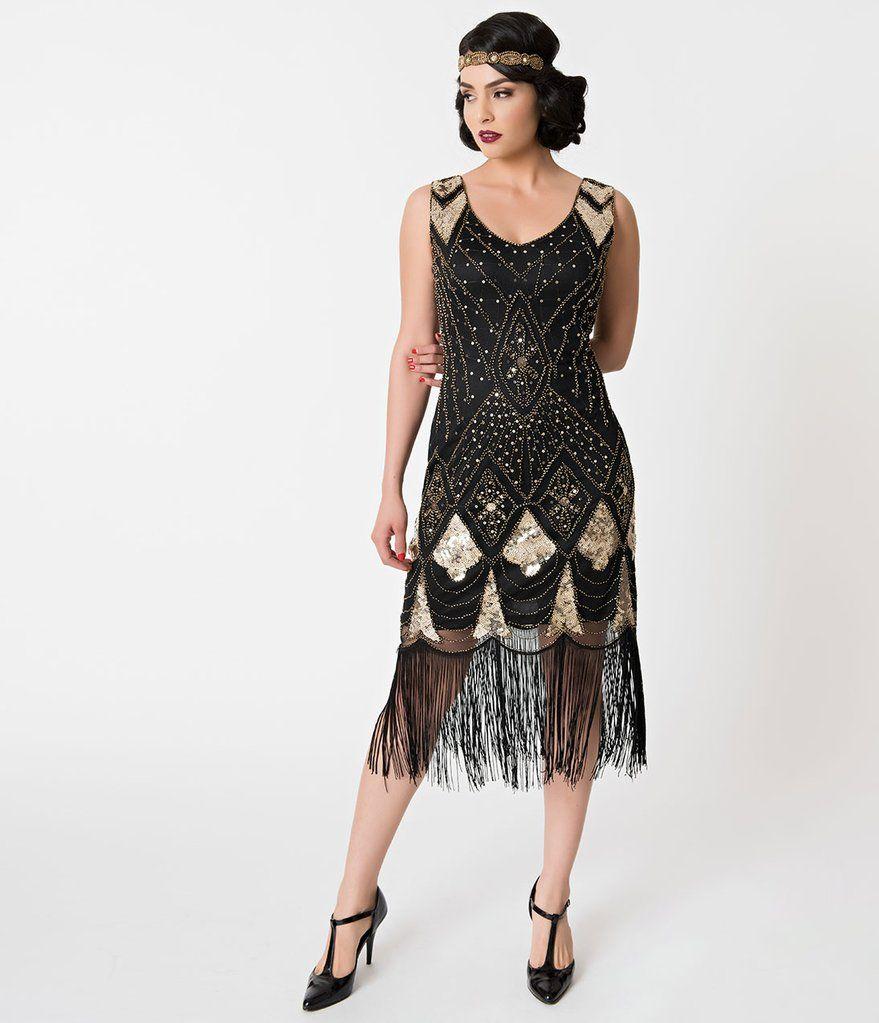Vintage Wedding Dresses Chicago: Black & Gold Sequin Lina Fringe Flapper Dress In 2019