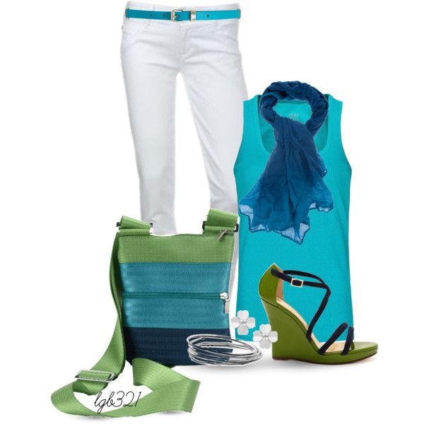 """""""Blue & Green Maggie Bag"""" by lgb321 on Polyvore"""