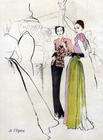Schiaparelli & Molyneux, 1946. Evening Gown, Illustrated by:Bernard Blossac.
