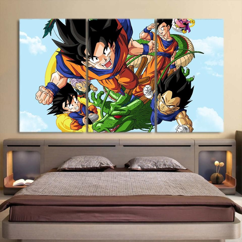 DBZ Goku Vegeta Gohan Super Saiyan Warrior Vibrant 3pc Wall Art ...