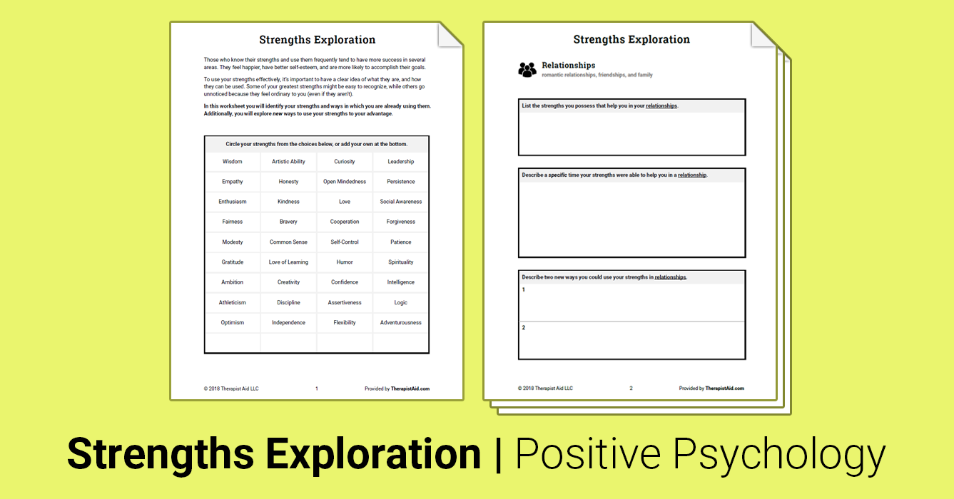 Strengths Exploration Worksheet Therapist Aid Therapy Worksheets Positive Psychology Therapy Tools