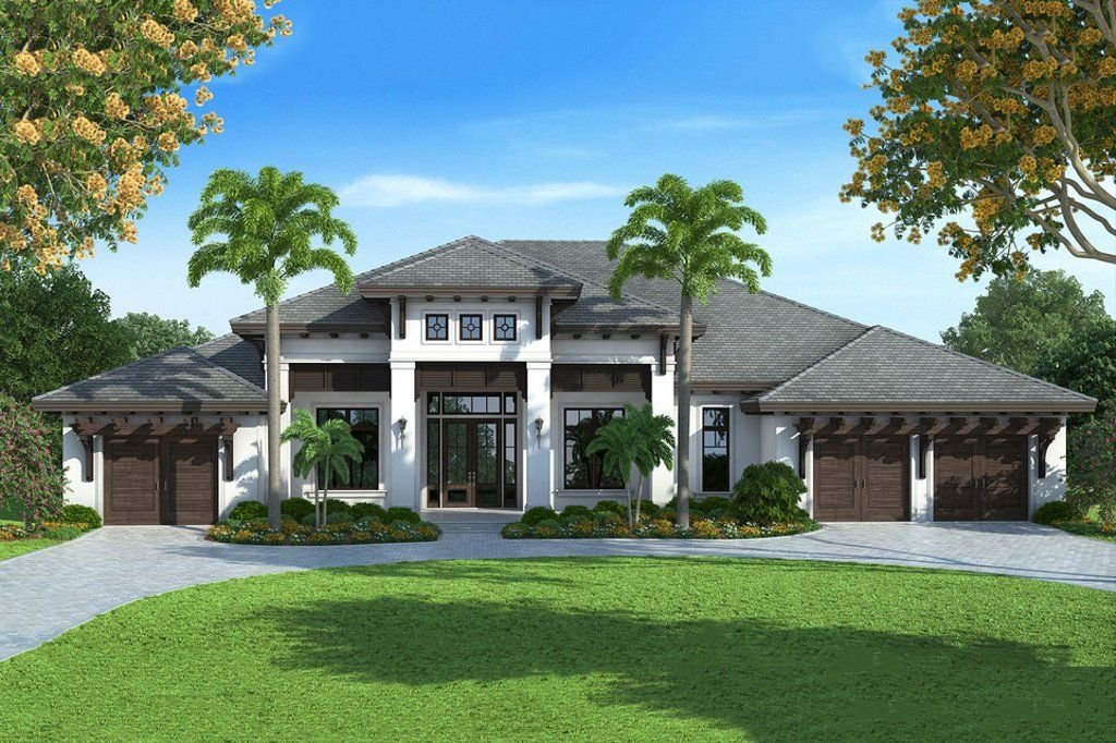 Contemporary Style House Plan 4 Beds 4 5 Baths 4599 Sq Ft Plan 27 493 Florida House Plans Coastal House Plans Mediterranean Style House Plans
