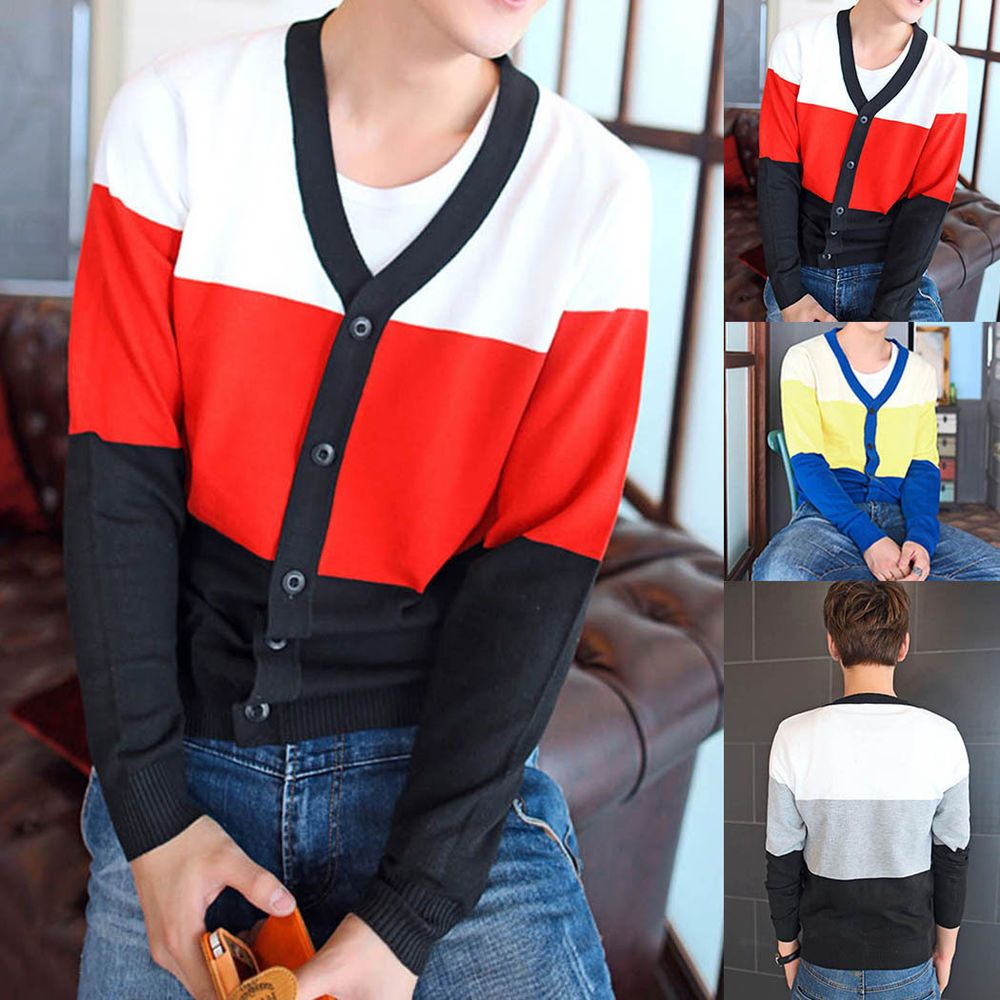 Men Luxury  Fitted Spliced Cardigan Youth Solid V-Collar Knitting Sweater M-XXL #New #Cardigan