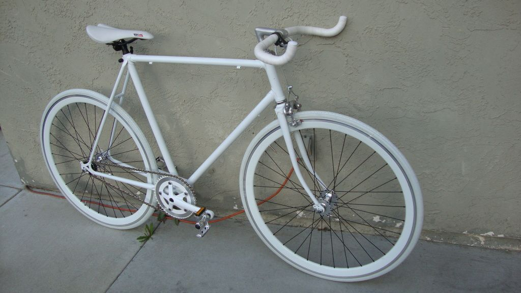 58cm All White Fixie Single Speed Road Bike Wdeep Vs Flip Flop