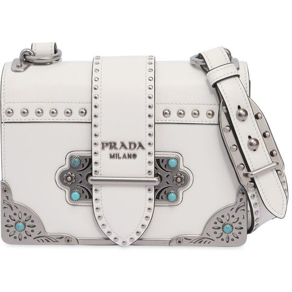 babff43bec4459 Prada Women Cahier Studded Leather Bag W/ Stones ($3,395) ❤ liked on  Polyvore featuring bags, handbags, shoulder bags, white, stone handbags,  prada, ...