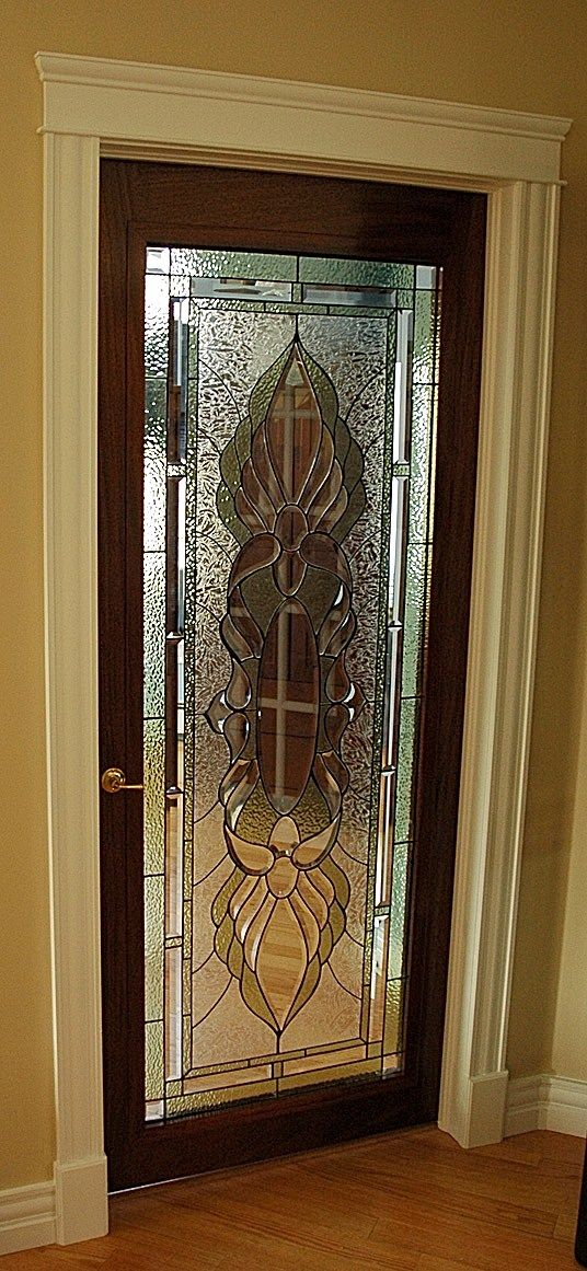 Interior french door with decorative glass Interior