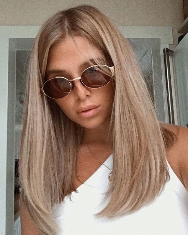 Beige blonde long straight hair no fringe