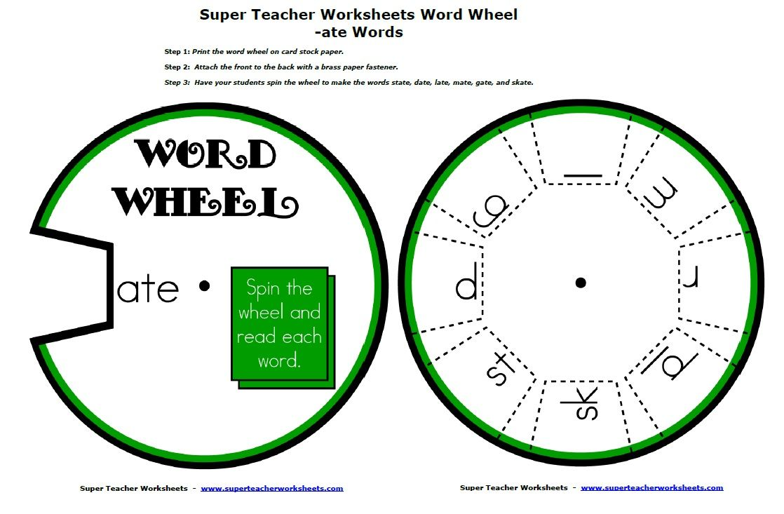 Word family word wheel. Spin the wheel to make skate, state, and ...