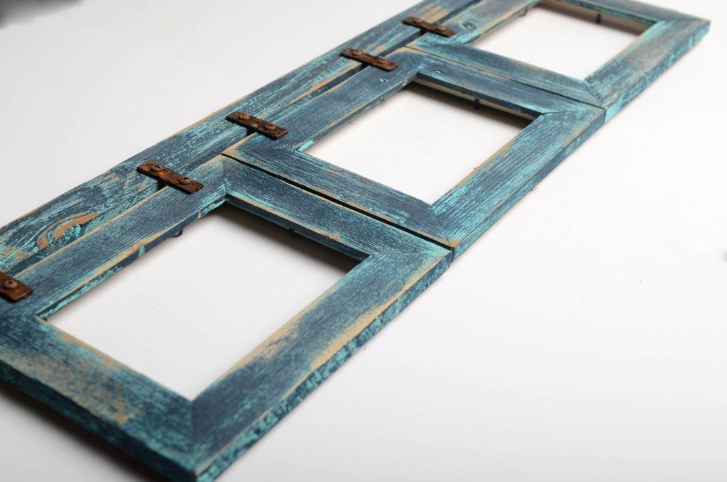 Shabby Chic Barnwood Collage Picture Frame 3 Hole 5x7 Multi Opening