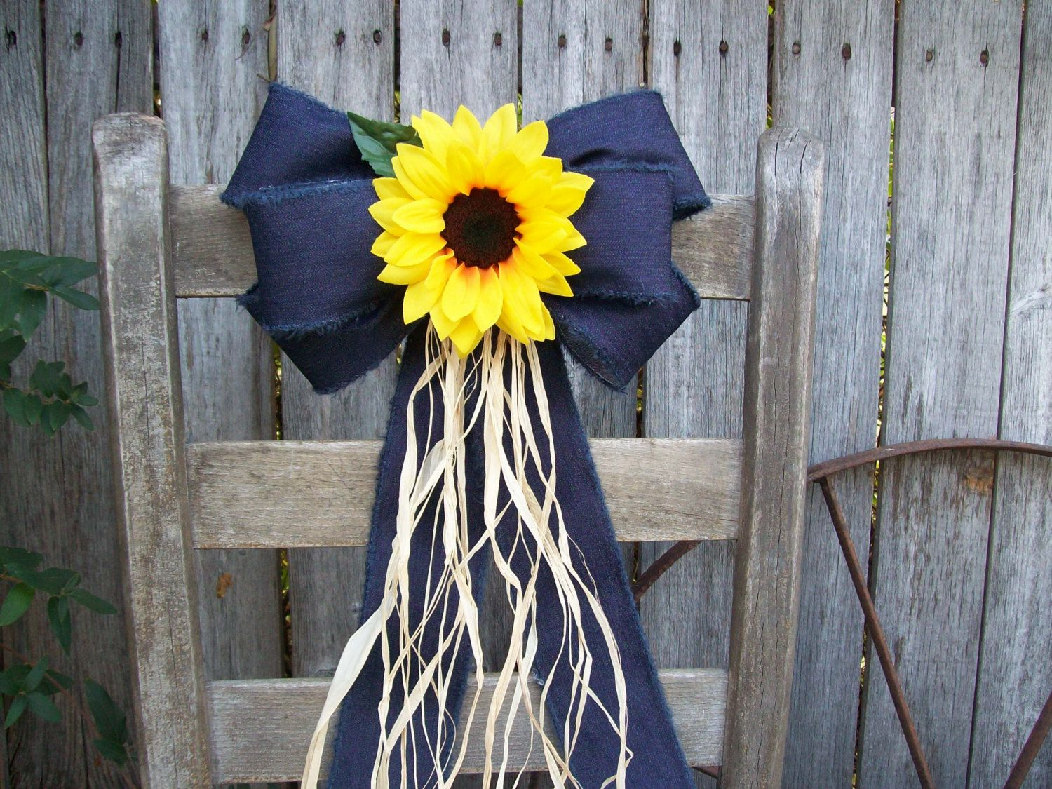 Sunflowers Sunflower and Denim Pew Bow Sunflower by