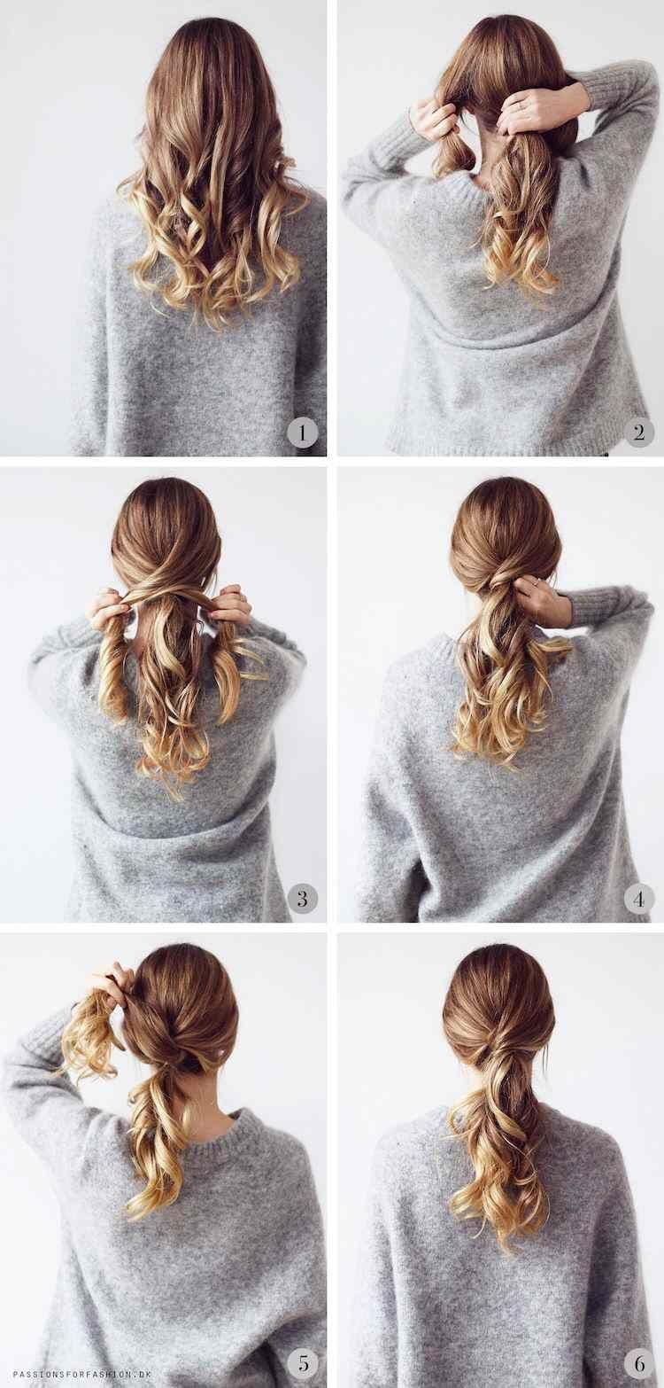 Idées de coiffures faciles travail queue de cheval basse élégante