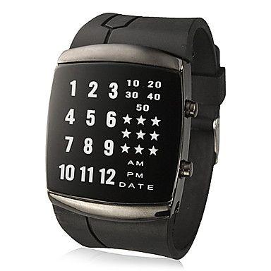 unisexe créatif mené l'affichage carré cadran caoutchouc montre-bracelet de bande (couleurs assorties) – EUR € 10.07