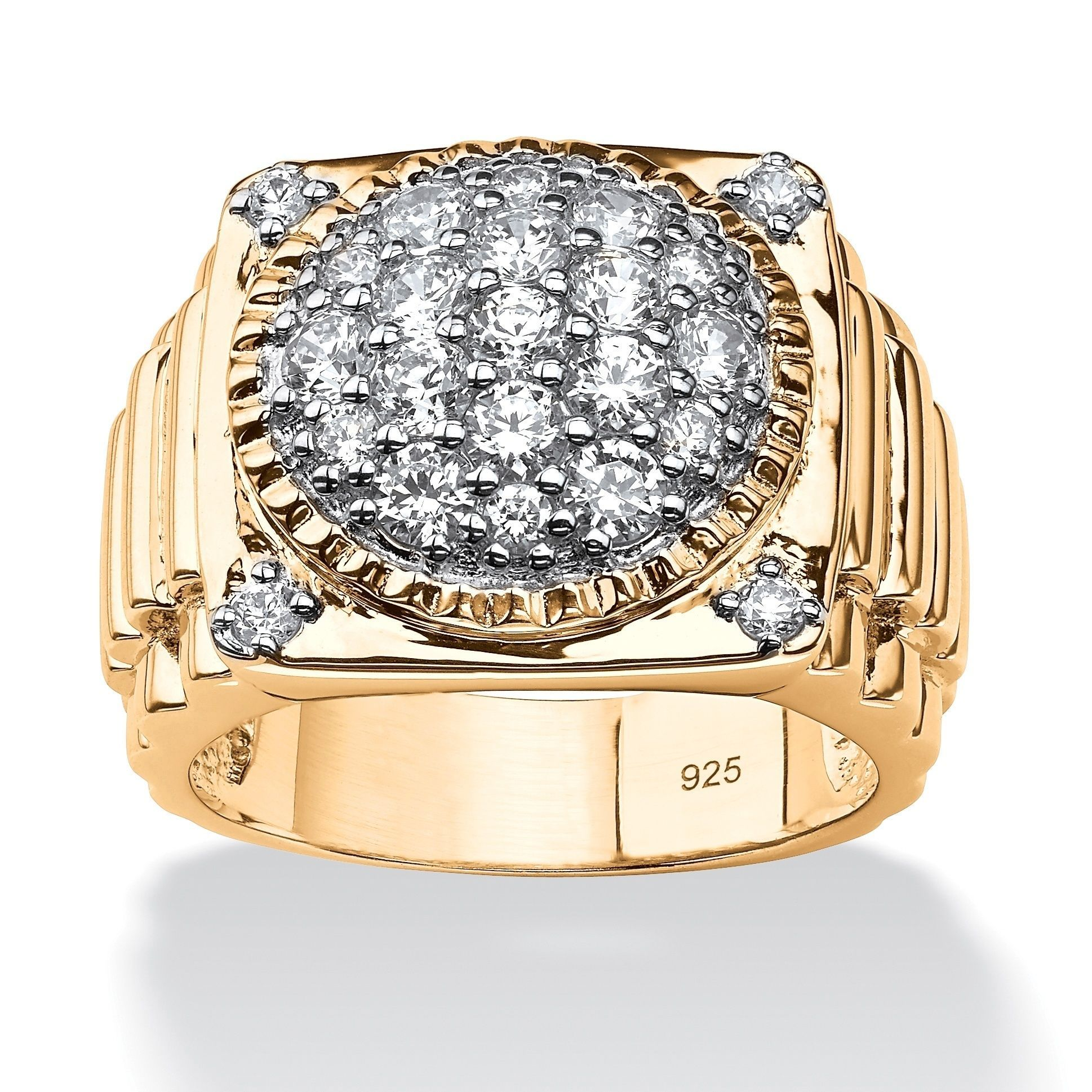14k Gold over Sterling Silver Men's 1 5/8ct Round Pave