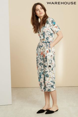 Buy Cream Warehouse Bird Print Wrap Dress online today at Next: Israel