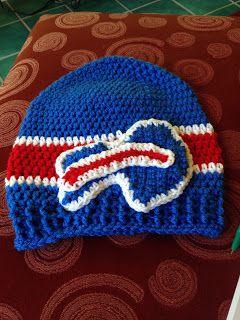 Crochet Buffalo Bills hat for the sports fan in your life...football hat --  The Perfect Stitch...  My hubby is a big Buffalo Bills fan. So 08e5d0991672
